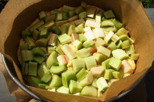 Rhabarberstücke für Rührteig