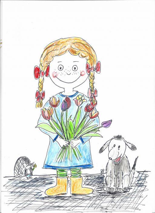 Blumen für Mama, Kinderzeichnung von Birgit Puck