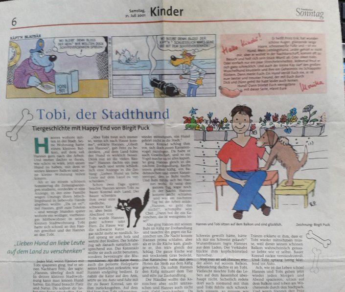 Kindergeschichte und Illustration von Birgit erschienen in Fränkischer Tag