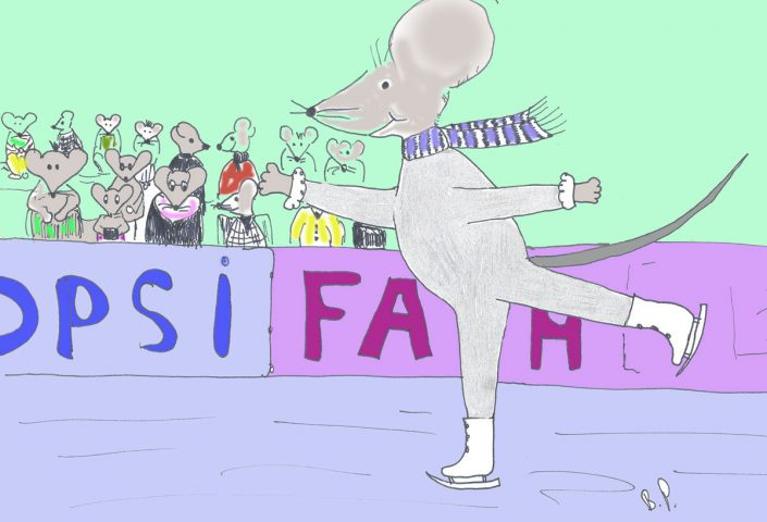Schlittschuh laufen. Maus auf der Schlittschuhbahn