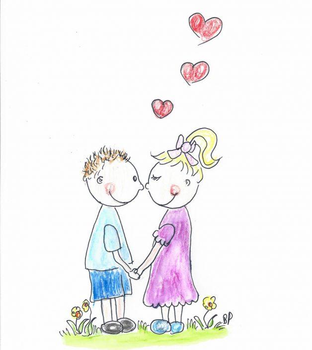 Kinderzeichnung von Birgit Puck, Valentin und Valentine