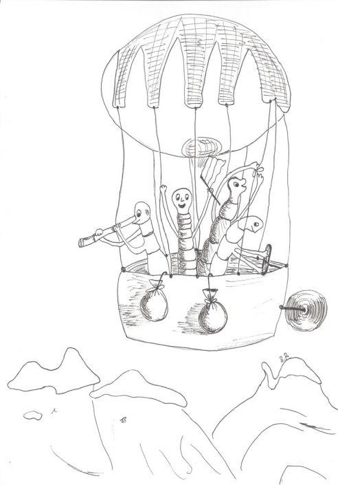 Geschichte für Kinder mit Zeichnung, geschrieben und illustriert für Zeitung
