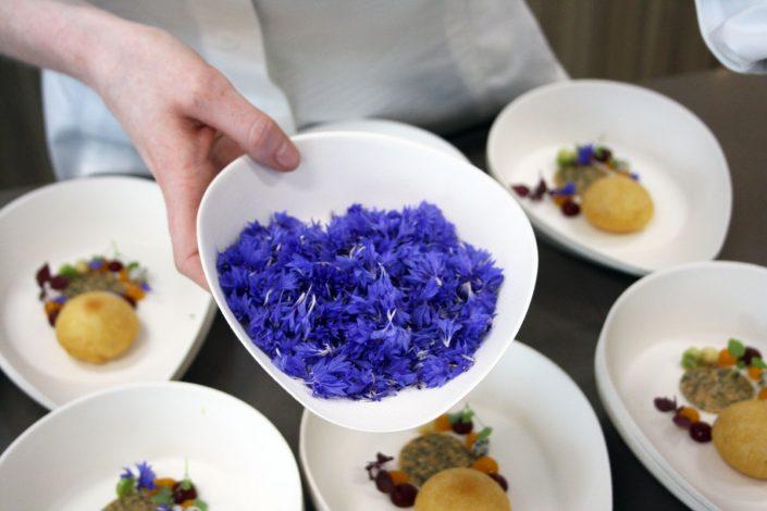 Blüten für Dessert von Mike Kainz, meine Frage an die Assistentin: Was sind das für Blüten? Antwort: Weiß ich nicht, aber sie sehen gut aus und schmecken nach nichts :)
