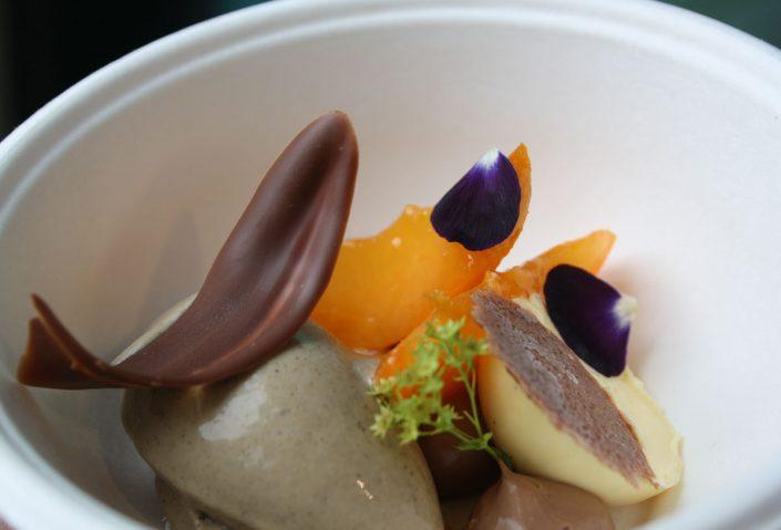 Sorbet von grünem Tee mit Aprikose, Dessert asiatisch von Yoshiko Sato aus Basel
