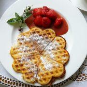 Sahnewaffel mit Erdbeeren, Rezept ist ganz einfach