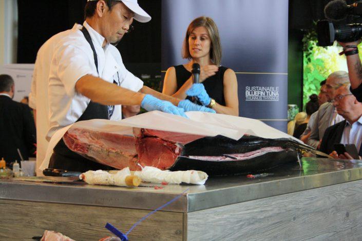 Thunfisch 106 kg werden filetiert