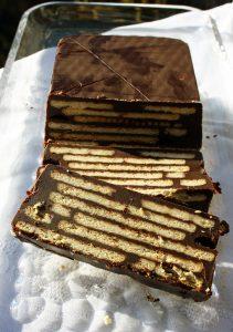 In Scheiben geschnitten, Kalter Kund, Kuchen mit Butterkeks