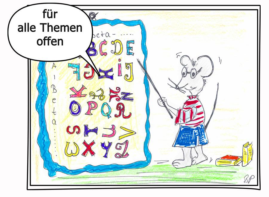 kindliche Illustration von kleiner Maus vor einer großen Tafel mit dem ABC, Texte für Kinder, Website, Webshop, Verlage schreibt Birgit Puck